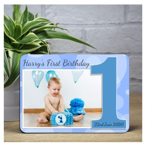Personalised Boys Blue Sparkle First 1st Birthday Wood Photo Frame F19